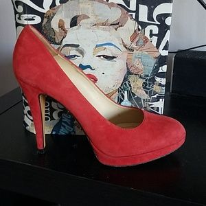 Red suede Charles David pumps